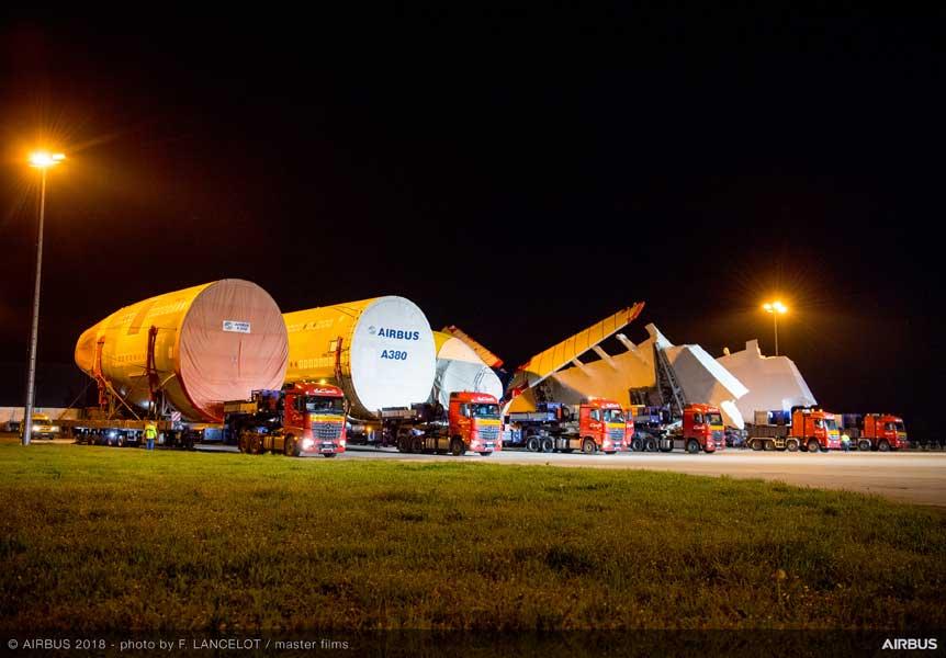 全日空向けエアバスA380初号機・最終組み立て工場に主要部品到着