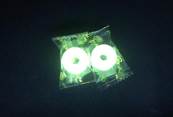 パインアメがブラックライトで光り輝く!実は他にも色んなものが光ります