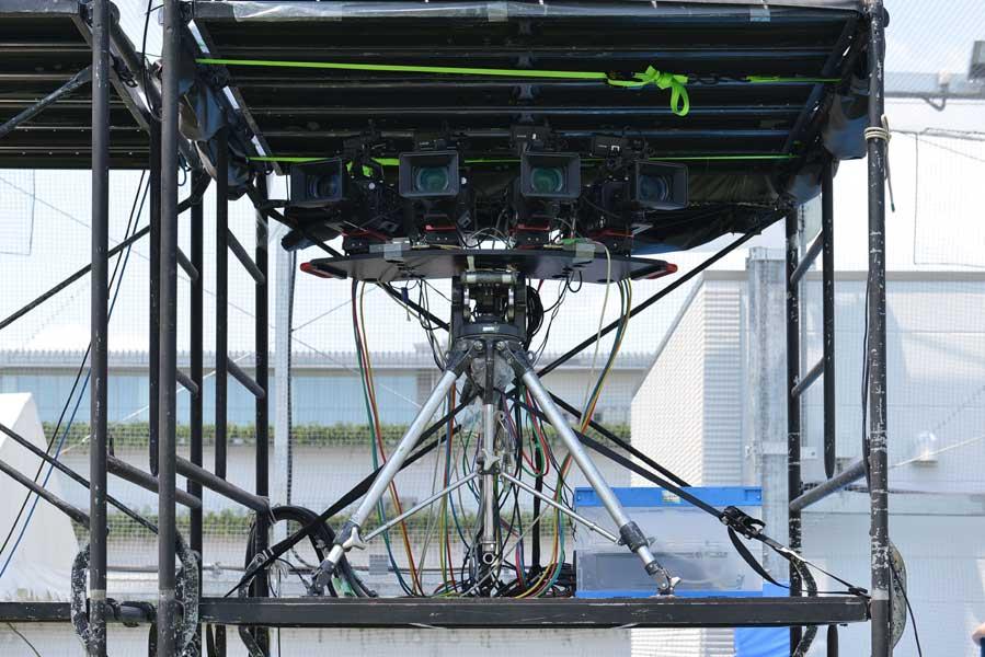 マルチスクリーン用の4Kカメラ4台(画像提供:NTTドコモ)