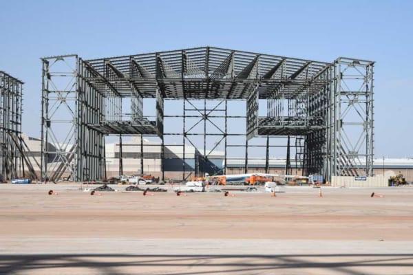 オクラホマ州ティンカー空軍基地で建設が進むKC-46用格納庫(画像:USAF)