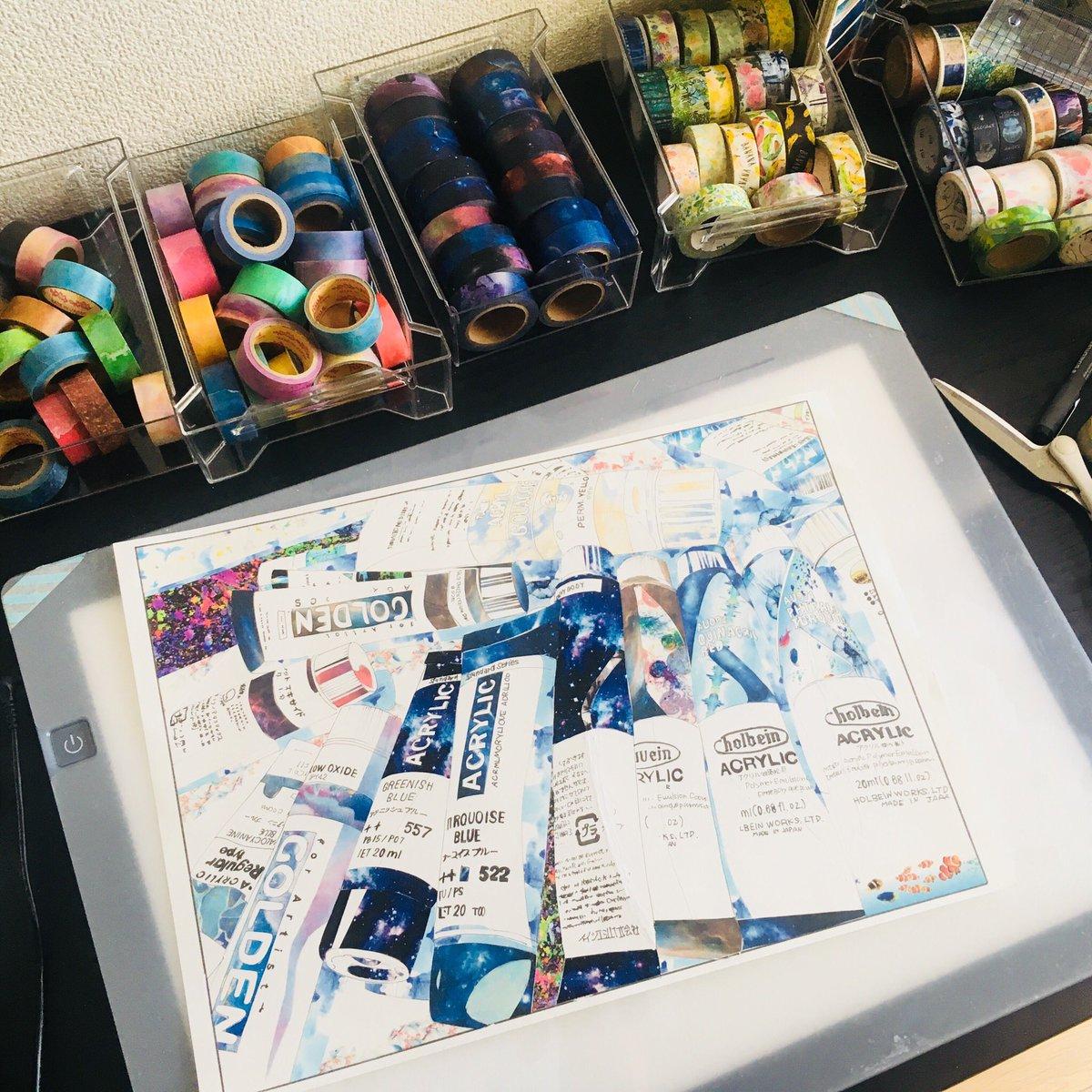 まるで水彩画のよう!マスキングテープで作られた絵の具の絵にうっとり