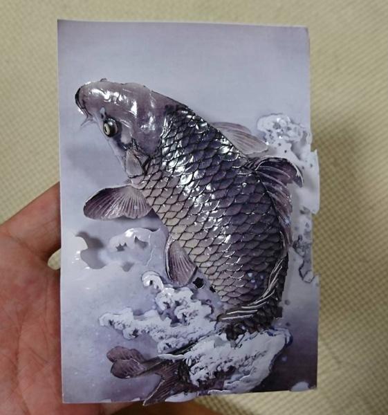 本物かと見間違うほど精巧にできた鯉のシャドーアートにネット感嘆