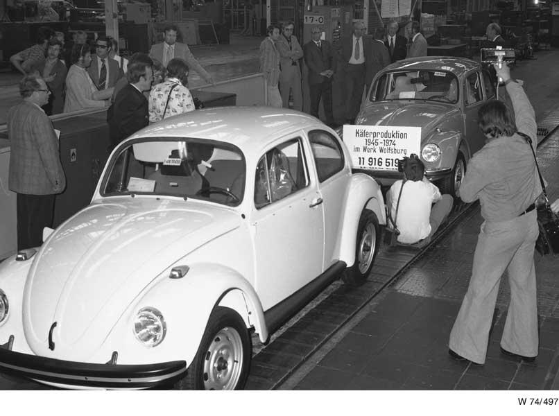 1974年、ドイツ・ウォルフスブルクでの生産終了