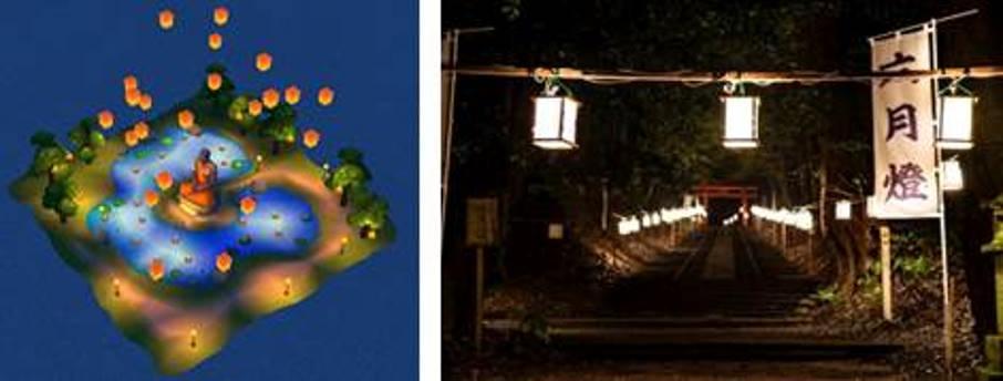 六月燈祭りをモデルにした灯篭流し