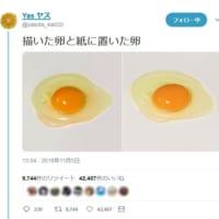 どちらが本物でしょう?生卵の絵と写真、見分けがつかないほど…