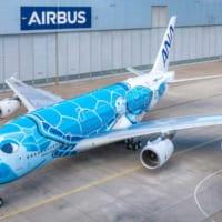 全日空のウミガメA380「FLYING HONU」空色の1…