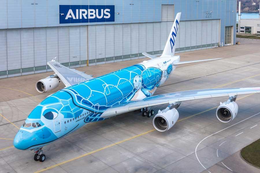 全日空のウミガメA380「FLYING HONU」空色の1号機がロールアウト