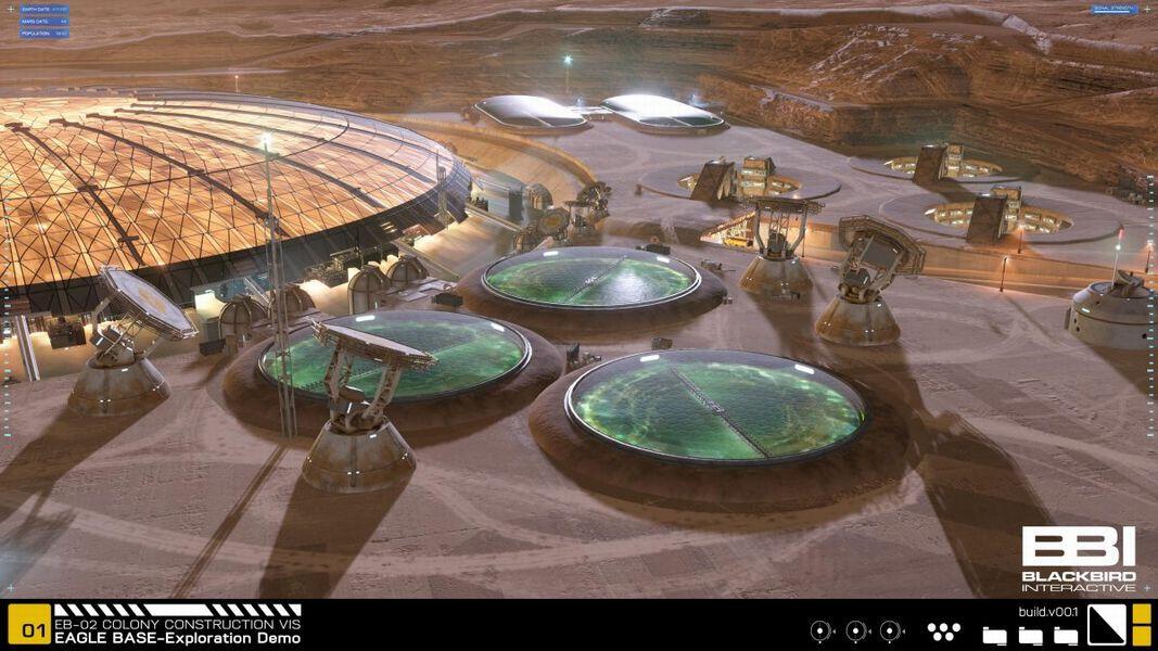 火星基地の貯水池(画像:Blackbird Interactive Inc.)