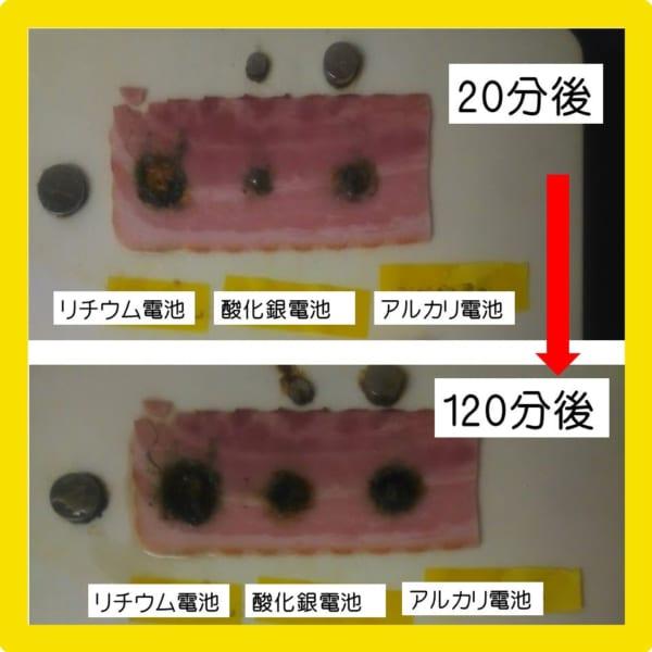 ボタン電池の誤飲の恐怖 粘膜の代わりにベーコンで実験してみた画像に戦慄