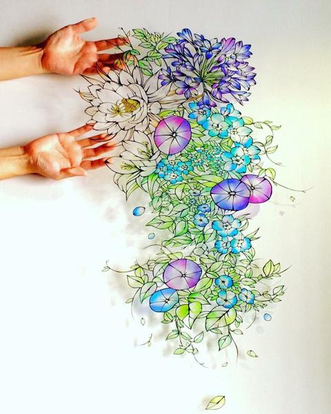一切り一切り想いが刻まれた「切り絵の花」にうっとり