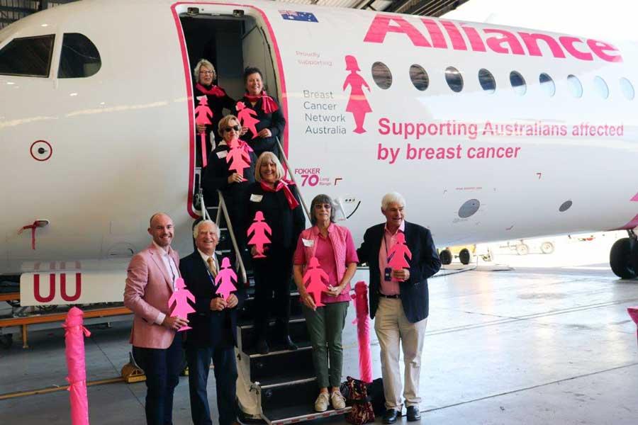 オーストラリアの航空会社 乳がん啓発でピンクの特別塗装機登場