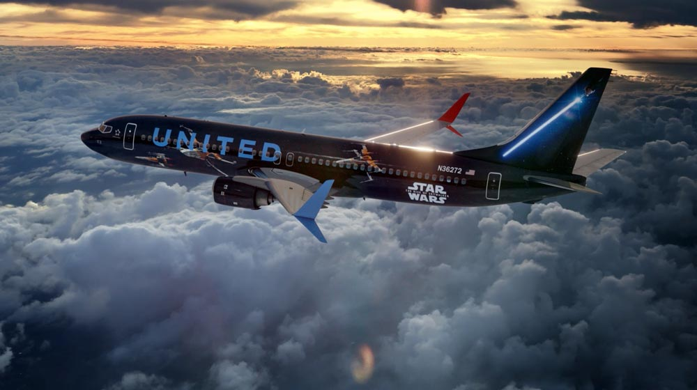 ユナイテッド航空「スター・ウォーズ/スカイウォーカーの夜明け」ジェット就航 コラボ機内安全ビデオも