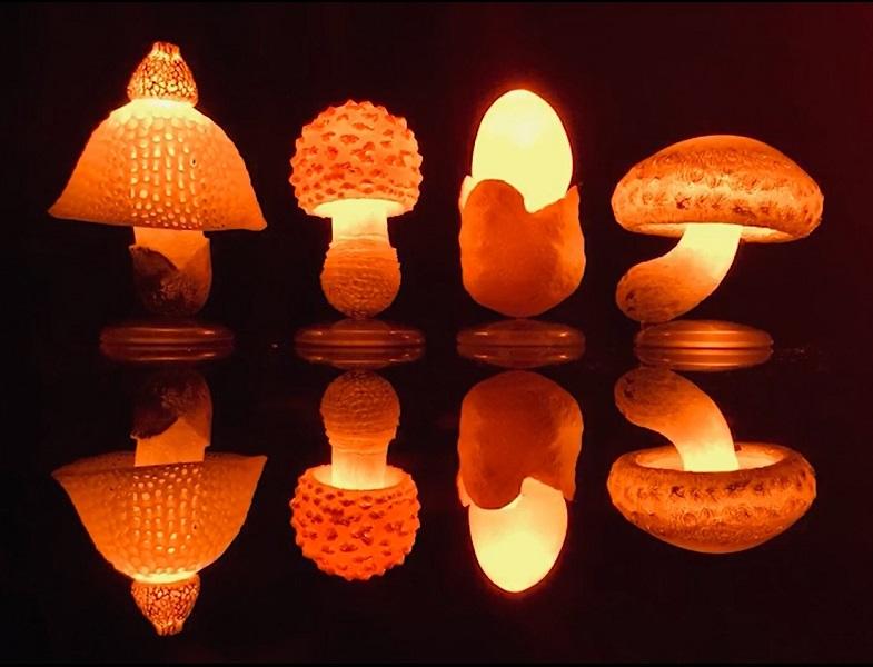 LEDで光るキノコがカプセルトイに! お部屋がファンタジー空間になりそう