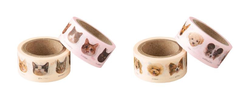 三方よしな「わんにゃんKAOマスキングテープ」登場 参加して楽しい・買って嬉しい・犬猫たちの寄付にも!!