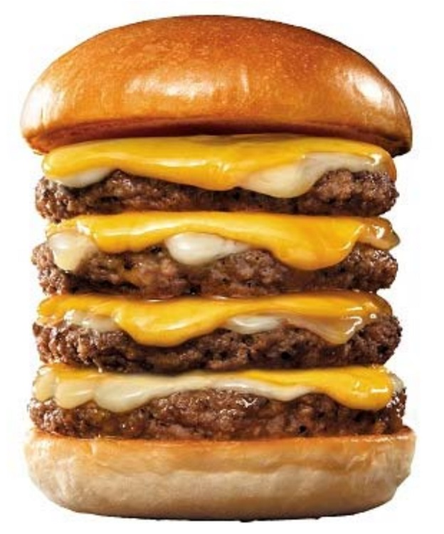 ロッテリアが4月の「肉の日」実施 4段絶品チーズバーガーなど肉肉肉の肉祭り