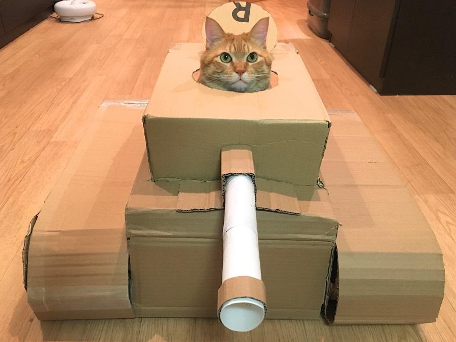 パンツァー・ニャー! 「段ボール戦車長は猫」な画像が賑わいまくり