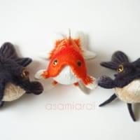 可愛い金魚の立体造形 実は刺繍でできている事にび…
