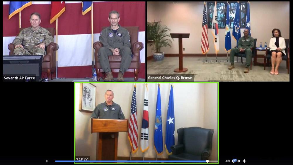 在韓アメリカ空軍が司令官交代式典を初めてバーチャル開催
