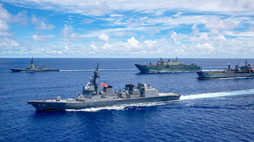 海上自衛隊護衛艦てるづき 空母ロナルド・レーガンらと日米豪3か国共同訓練