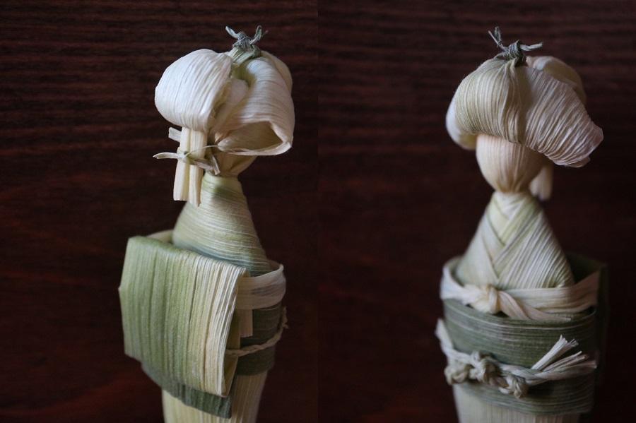 トウモロコシからこんにちは! 皮を使った日本髪のお人形さんに「伝統工芸みたい」