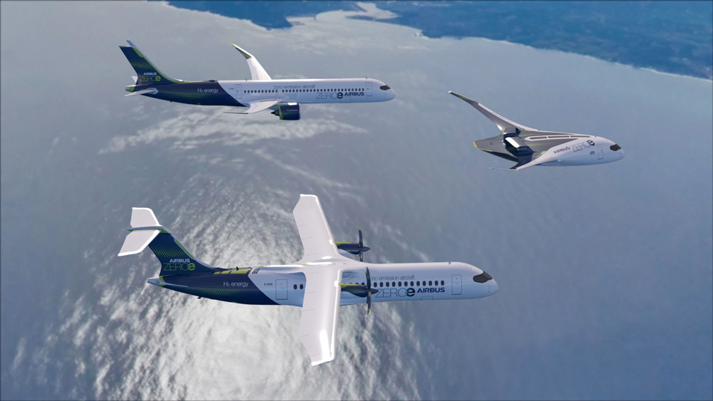 エアバス 水素燃料で二酸化炭素を排出しない「15年後の旅客機」モデル3種を発表