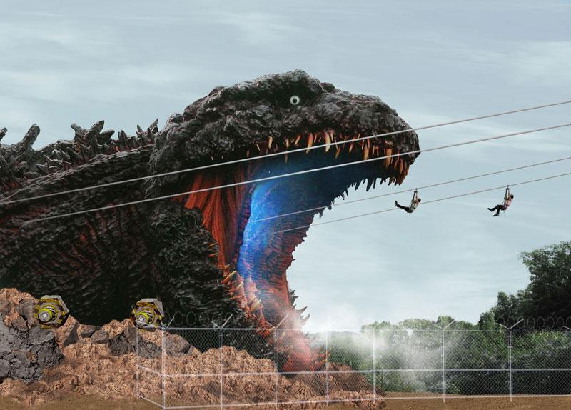 淡路島に全長約120mの実物大「ゴジラ」出現 体感型アトラクション「ゴジラ迎撃作戦」10月10日オープン