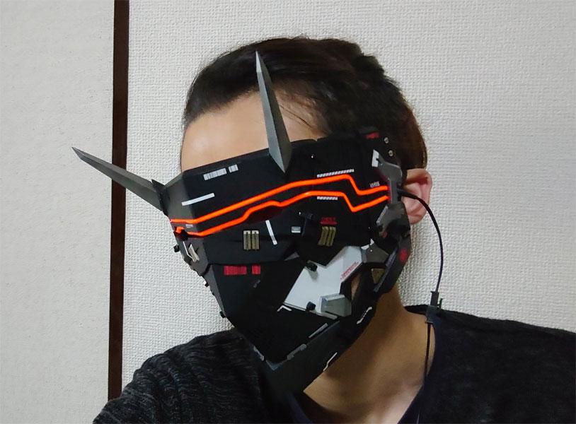 かっけぇ…SF感溢れる「サイバーパンク鬼面」 拡張性ある構造でマスク形態も