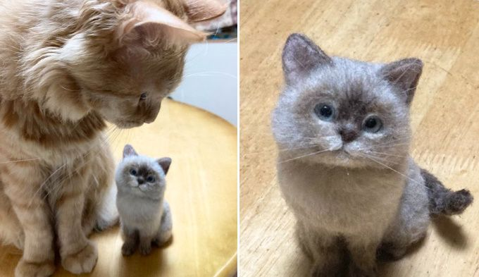 羊毛フェルトで作られた「シャム猫風ニャンコ」が本物にしか見えない…!