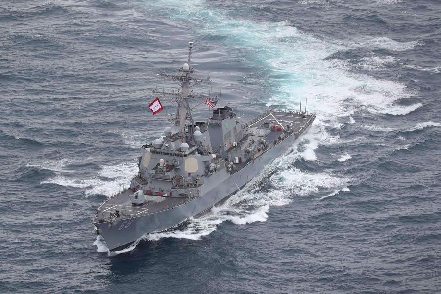 アメリカの駆逐艦ザ・サリバンズ(Image:Crown Copyright)