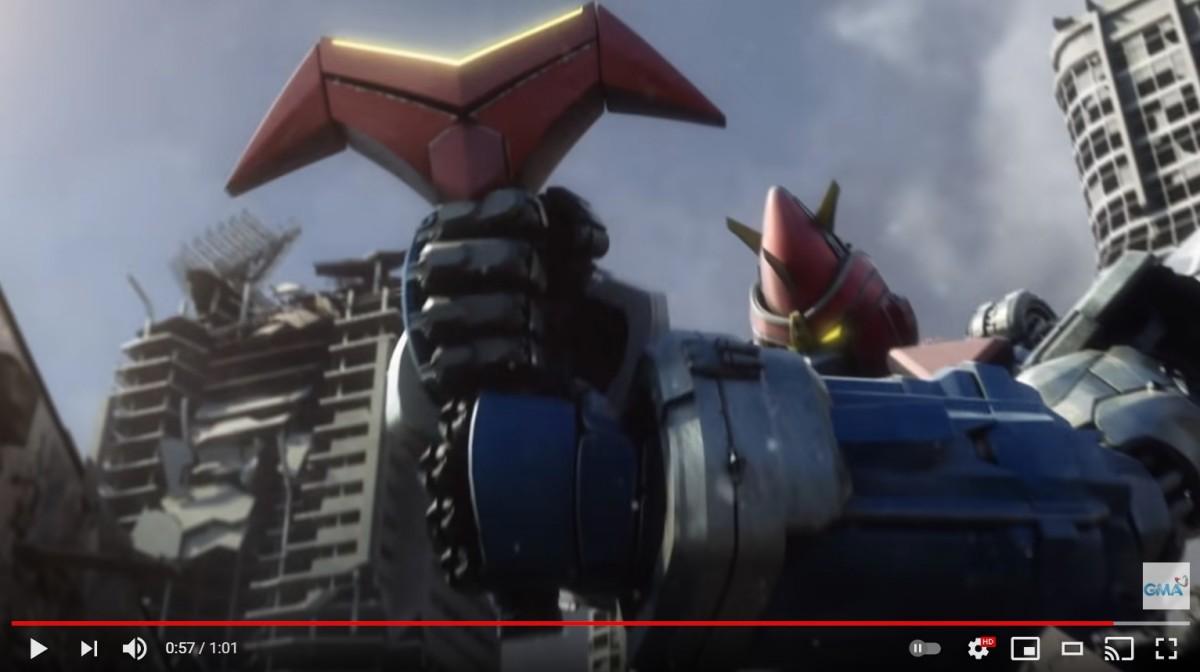 「ボルテスV・レガシー」予告編より天空剣を手にするボルテスV(スクリーンショット)