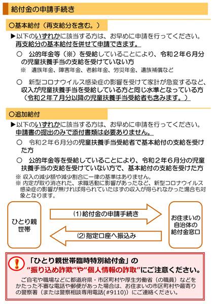 「ひとり親世帯臨時特別給付金」申請期限の案内リーフレット裏面(厚生労働省特設サイトより)
