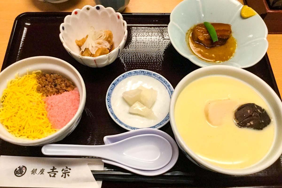 銀座吉宗の茶碗蒸しと蒸し寿司「夫婦蒸し」