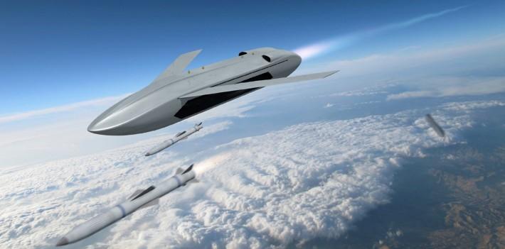 空中発進式戦闘ドローン「LongShot」のコンセプトイラスト(Image:DARPA)