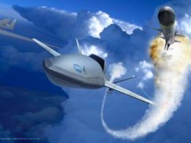 空中発進式戦闘ドローン「LongShot」のコンセプトイラスト(Image:Northrop Grumman)