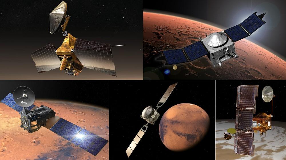 データを中継する火星を回る5つの人工衛星(Image:NASA)