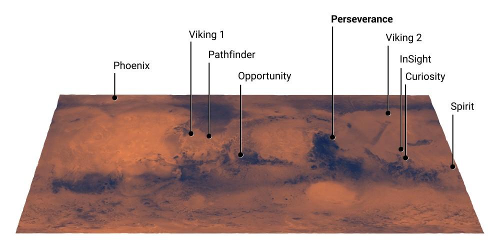 NASAの火星探査機着陸地点(Image:NASA)