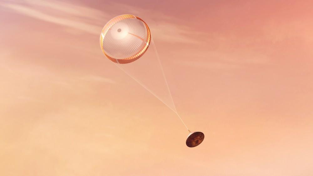 パラシュートを展開するMARS 2020(Image:NASA)