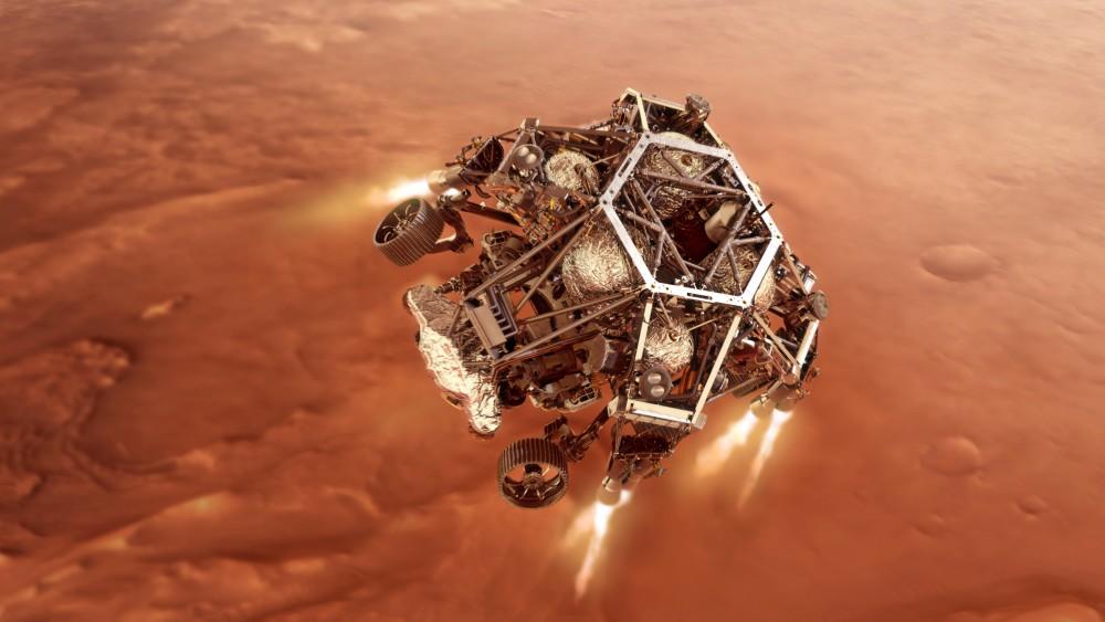 降下するスカイクレーン(Image:NASA)
