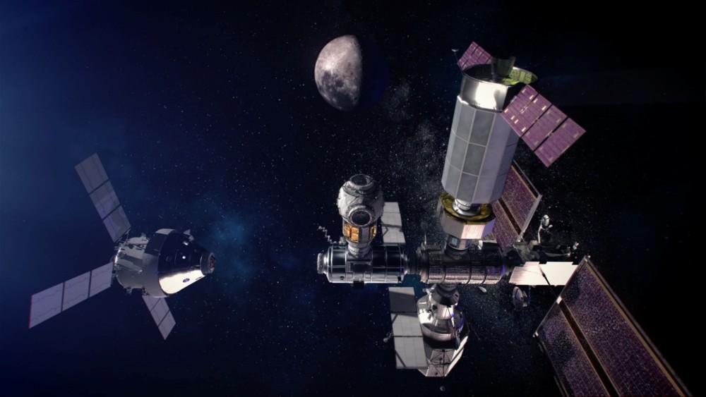 月周回ステーション「ゲートウェイ」の想像図(Image:NASA)