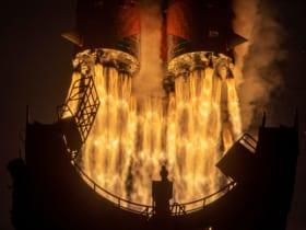 プログレスMS-16を載せて上昇するソユーズロケットのエンジン(Image:ロスコスモス)