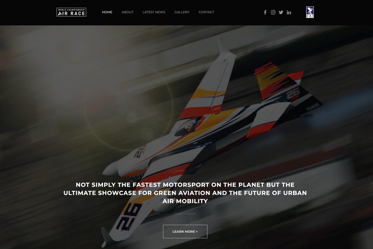 2022年開幕の「ワールドチャンピオンシップ・エアレース」公式サイト(スクリーンショット)