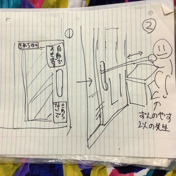 コロナ禍での診察室の一工夫 自動ドアの仕組みに「タクシーみたい」 投稿者による図解