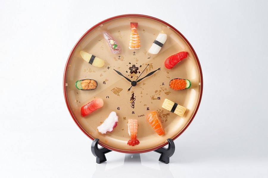 「寿司時計プレミアム」の文字盤に使用されている寿司ネタは、いくら軍艦・数の子・アジ・まぐろ・タコ・甘海老・ウニ軍艦・たまご・サーモン・中とろ・イカ・エビの全12種類