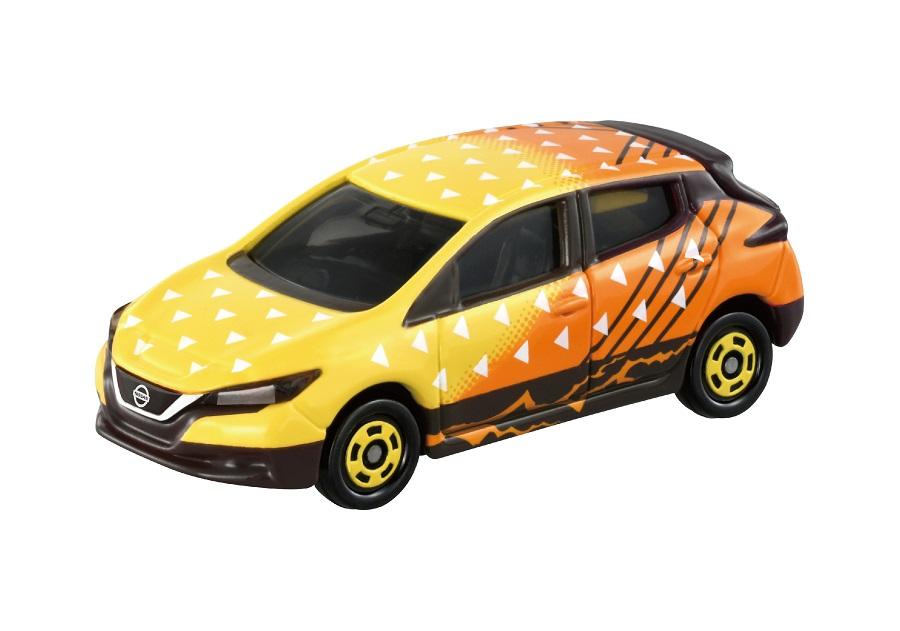 「鬼滅の刃トミカ vol.1 03 我妻 善逸」は車体に雷の呼吸をイメージさせる電気自動車、日産 リーフを使用。