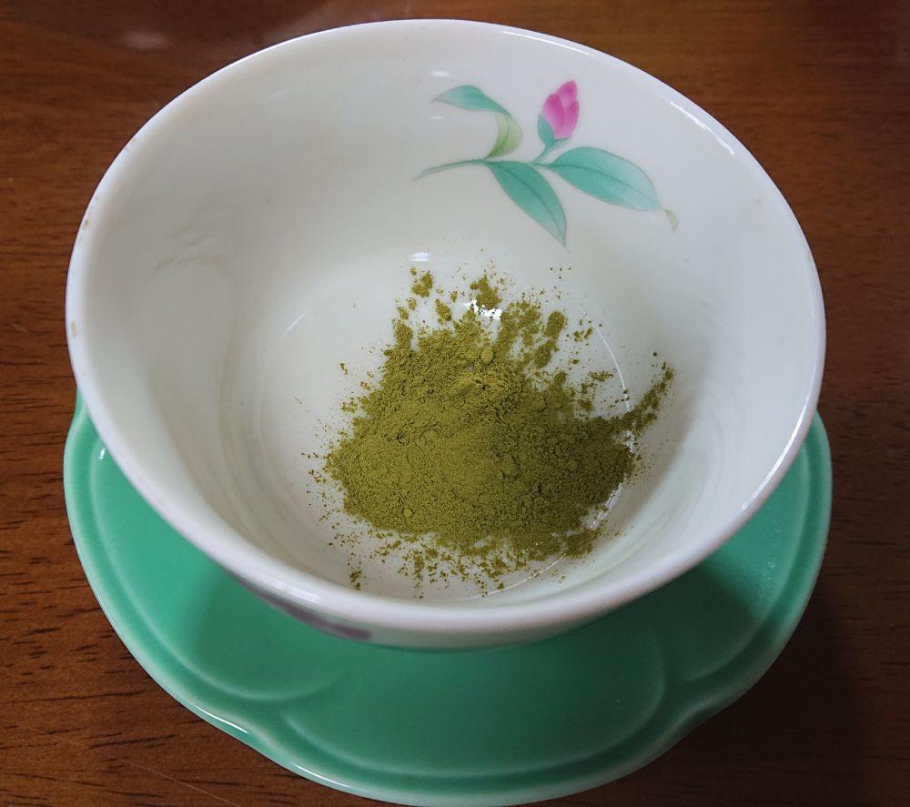 深蒸茶のスティックの中身は粉末パウダー。