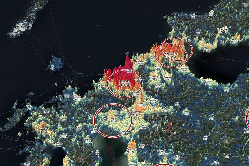 地方都市の発展の典型ともいえる形状の福岡都市圏。今後大きな変化があり得るエリアでもあります。