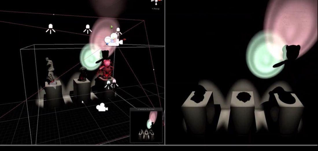 予め現実と同じサイズの3D空間を作成。