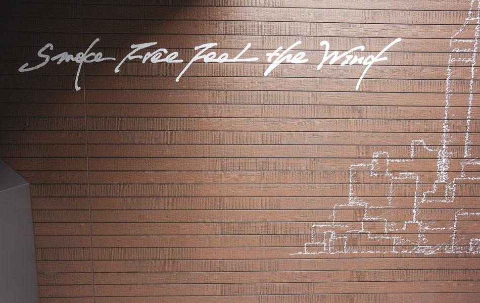 壁面のメッセージ