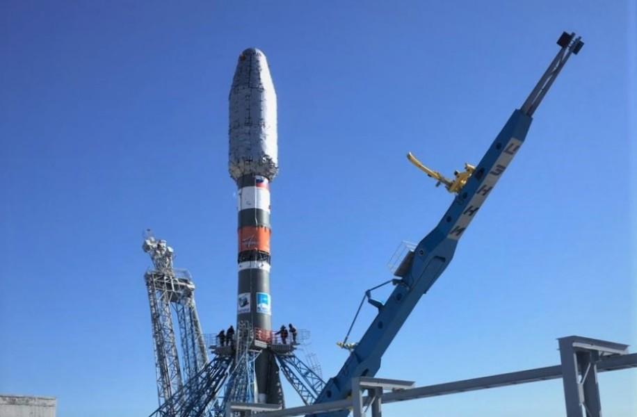 発射台に設置されたソユーズ2.1bロケット(Image:Roscosmos)