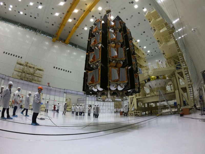 セットされた36機のOneWeb衛星(Image:Roscosmos)